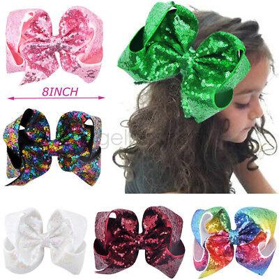 8 inch Big Large Sequin Hair Bow Alligator Clips Headwear Girls Hair Accessories
