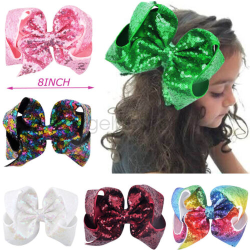 8 inch big large sequin hair bow