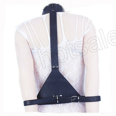 Black PVC Leather Neck Collar Link to Arms - Black Link Kostüm