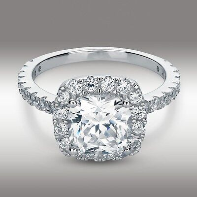 3.20 Carat Cushion Cut Halo Engagement Ring Lab Diamond Solid 14K White (Carats Cushion Engagement Ring)
