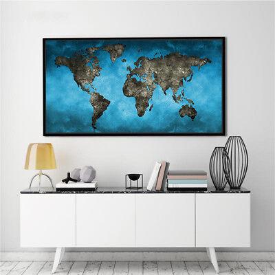 Banner World Map Abstract Watercolor Art Silk Canvas Poster Paint Unframed BM04