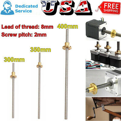 T8 3d Printer 8mm Lead Screw Threaded Rod Cnc Trapezoidal With Brass Nut Kit Us