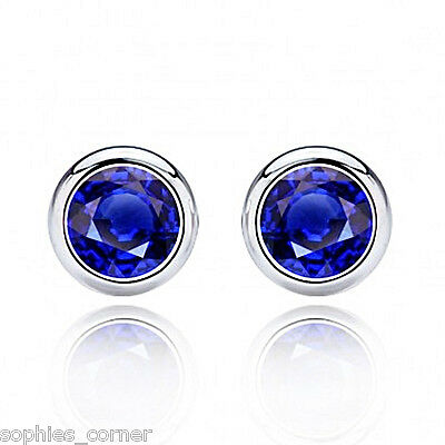 2 ct. Beautiful Blue Sapphire Stud Earrings ~ Bezel set ~ Solid Sterling Silver  Bezel Set Stud Earrings