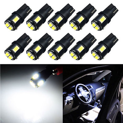 10X AUXITO T10 194 168 2825 W5W Wedge Light Bulbs LED 6000K Super White 6-SMD ED (Cargo Wedge)