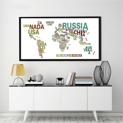 Banner World Map Abstract The World In Words Canvas Poster Paint No Frame BM20
