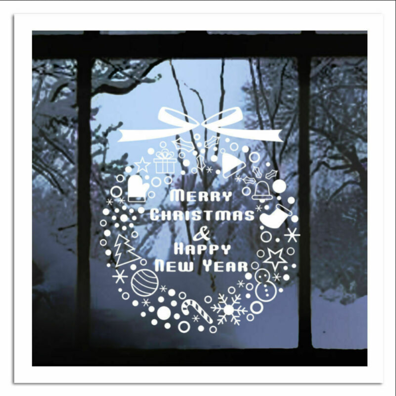 Home Decoration - Merry Christmas Gift Wreath Wall Window Stickers Decals XMAS Home Shop Decor W