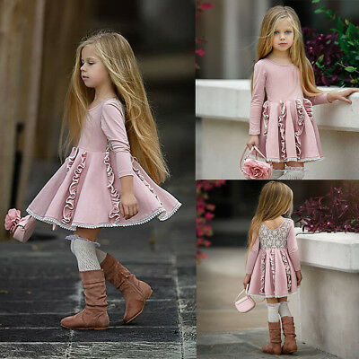 Lace Ruffle Dress Toddler (Toddler Kid Baby Girl Long Sleeve Dress Lace Ruffle Party Princess Dress)