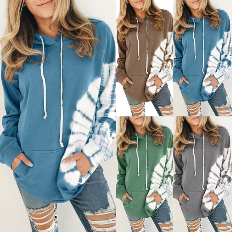 Womens Hoodie Sweatshirt Floral Casual Plus Size Pullover Pockets Jumper Tops US
