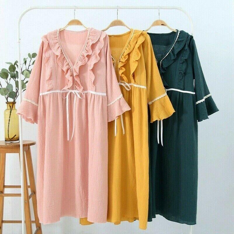 Damen Schwangerschafts Kleidung Stillen Schlaf Kleid Rüschen Nachthemd Neu