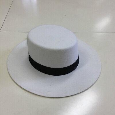 Bolero Hat for womens 100% Wool Felt Boater Hat Wide Brim Flat Top White (Top Hats Cheap)