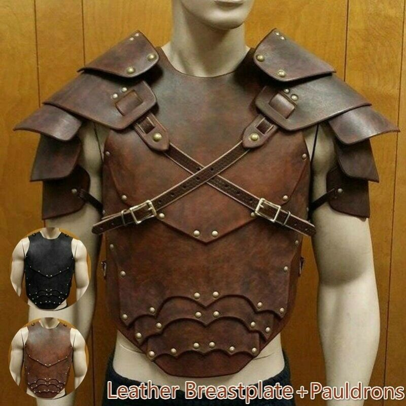 Leather Breastplate & Leather Shoulder Armor with Adjustable Buckle Straps