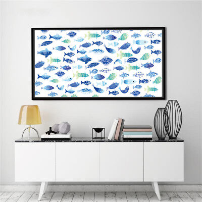 Art Blue Fish Silk Canvas Poster Paint Living Bed Room Wall Decor Unframed - Bedroom Painted Poster Bed