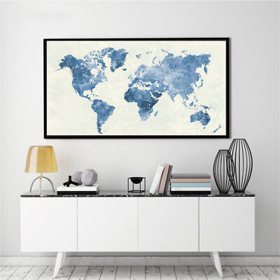 Banner World Map Abstract Watercolor Silk Canvas Poster Painting No Frame BM09