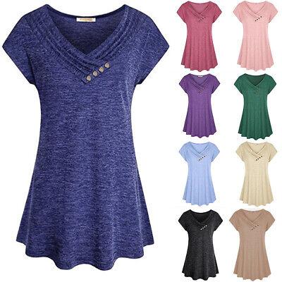 Women Solid Swing Short Sleeve Tunic Tops Blouses Loose Plus Size T-Shirt Dress Swing Top Tee
