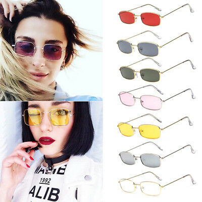 Small Square Frame Rectangular Sunglasses Retro Fashion Shades Vintage Glasses
