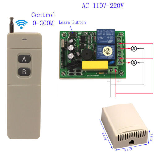 220V 2CH Channel Wireless RF Remote Control Receiver Relay Switch 433MH GS MW