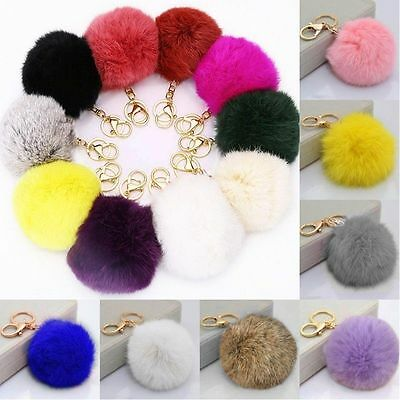Soft Fluffy Rabbit Fur Ball Key Chain PomPom Handbag Car Key Ring Accessories