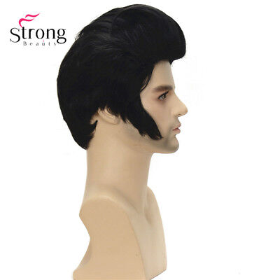 Rock N' Roll Elvis Presley Black Short Cosplay Wig Synthetic Costume Wig for Men - Elvis Wigs For Adults