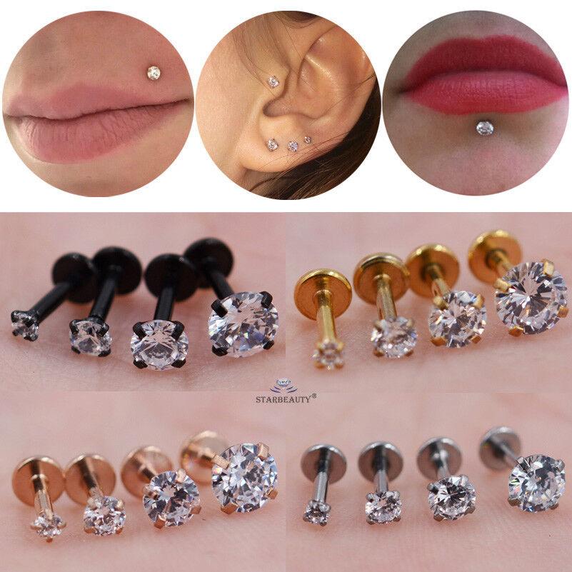 Jewellery - Stainless Steel CZ Helix Labret Cartilage Tragus Ear Lip Bar Stud Piercing