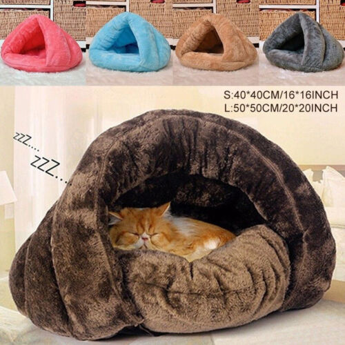 Puppy Pet Cat Dog Soft Nest Kennel Bed Cave House Sleeping M