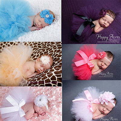 Set Baby Girl Headband+Tutu Skirt Newborn Flower Photo Photography Petticoat Hot