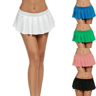 Sexy Women Pleated Mini Skirt Schoolgirl Micro Short Dress Cosplay Club Costume