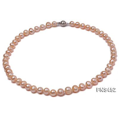 Genuine 7-8mm Oval Natural Pink Freshwater Cultured Pearl  Choker Women Necklace
