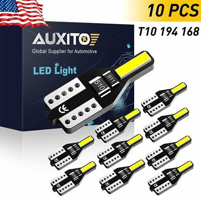 AUXITO T10 LED License Plate Light Bulbs 6000K Bright White 168 2825 194 10X 12V