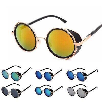 Vintage Retro Side Shield Round Sunglasses Studio Steampunk Metal Frame (Side Shield Sunglasses)