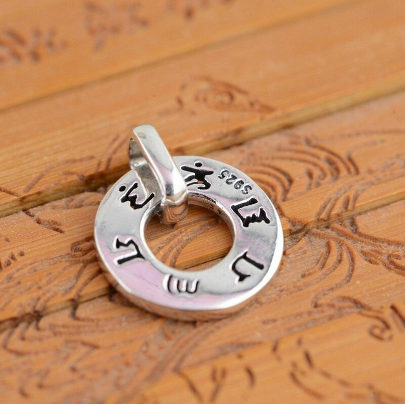 925 Sterling Silver Mantra Pendant Vintage Jewelry Engraved Six Words Om