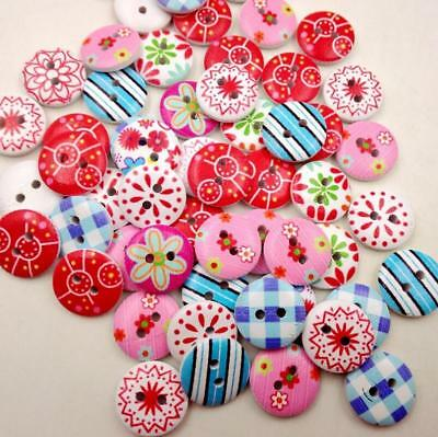 50pc Wooden Colorful Buttons 2 Holes For Scrapbooking Crafts DIY Clothing Sewing (Craft Buttons)