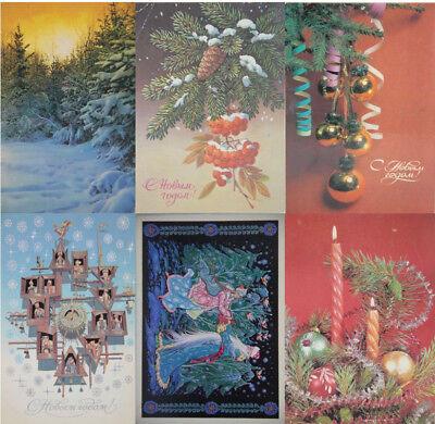 6 Postkarten mit dem Motiv Neujahresfest, Sowjetunion / UdSSR, gebraucht