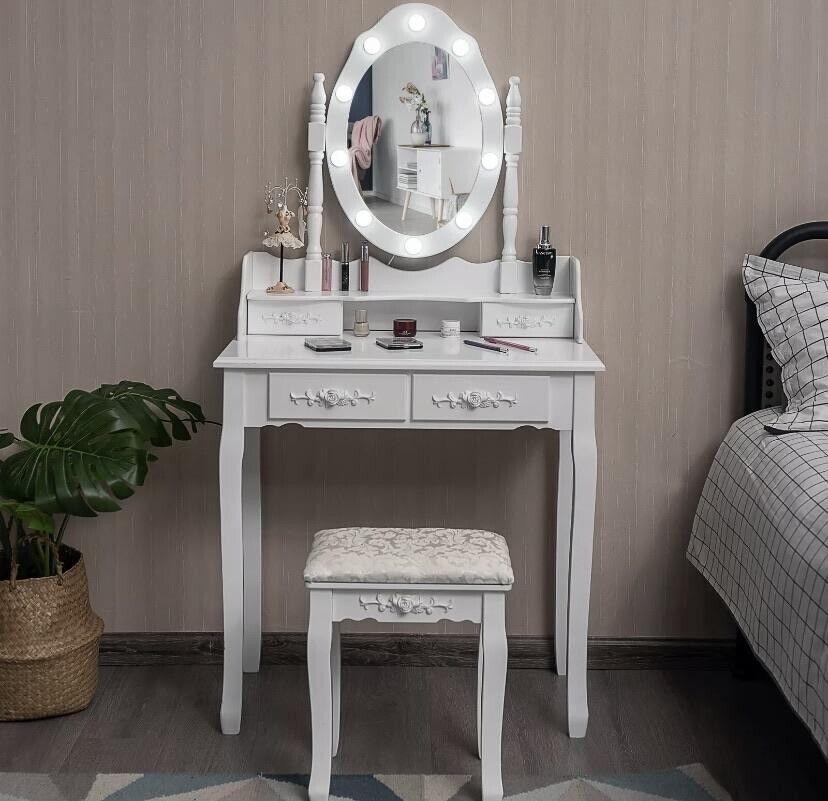 Vanity Makeup Led Dressing Table Stool, Mirrored Dressing Table Set Gumtree