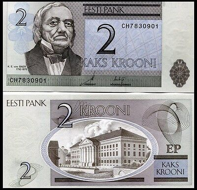 Estonia P85b, 2 Kroon, geographer Karl Emst von Baer/ Rartu University. 2007 UNC
