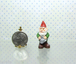 Dollhouse Miniature Resin Garden Gnome with Watering Can, Fairy Garden