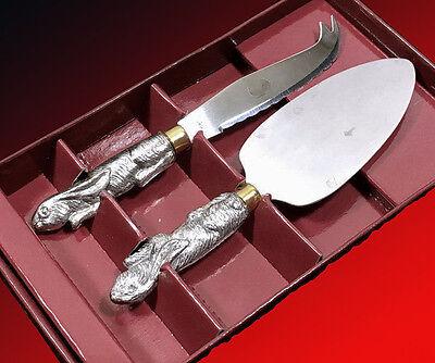 Arthur Court Bunny Rabbit Cheese Server / Knife Set In Orig Box  Unused!