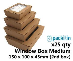 x25 MEDIUM KRAFT BROWN WINDOW LID BOXES for macarons cookies food gift packaging