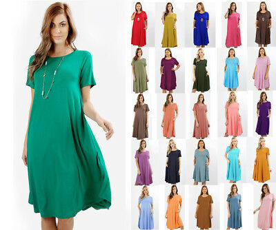 Women's Short Sleeve Loose Midi T-Shirt Dress Casual Solids Soft Jersey Knit Jersey T-shirt Dress
