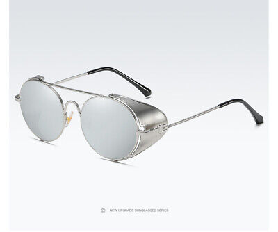 Steampunk Sunglasses with Folding Side Shields Silver Lens US (Sunglasses With Side Lenses)