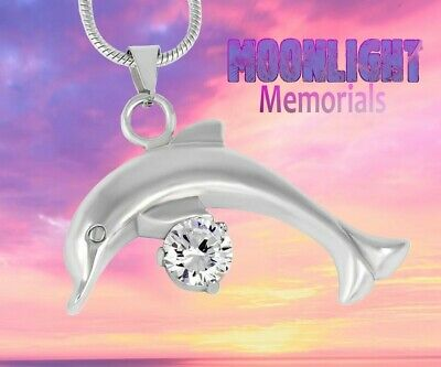 Dolphin Keepsake - New Dolphin Crystal Cremation Urn Keepsake Ash Silver Memorial Necklace