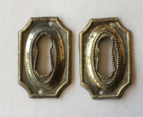 Pair Antique Brass Hepplewhite/Sheraton Key Hole Covers, Escutcheons