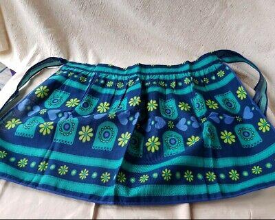Vintage Cotton Apron Blue Floral c1970s St Michael M&S Pocket Cotton Midcentury
