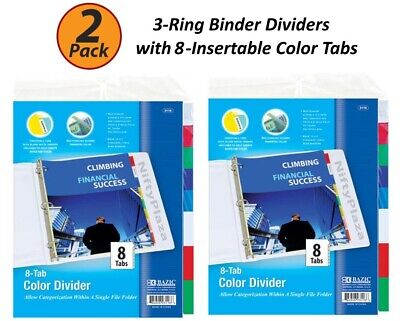 2 Pack - 3-ring Binder Dividers With 8-insertable Color Tabs Fits In Ring Binder