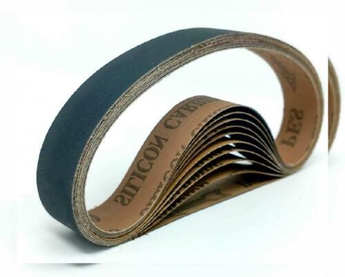 Powertec 1 x 30 in 400 Grit Sanding Belt Silicon Carbide Sander Belts 10 Pack