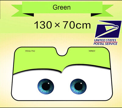 Aluminium Foil Cartoon Car Windshield Sun Shade Green Eyes Front Visor (Green Cartoon Eyes)