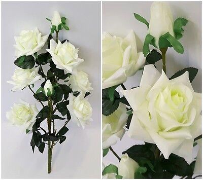KUNSTROSEN Strauß 68cm creme-weiß 8 Blüten Deko Rosen Seidenblumen Kunstblumen