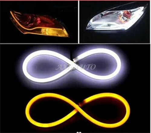 2x 60cm LED Strip Amber Sequential Turn Signal Daytime Running Light Switchback