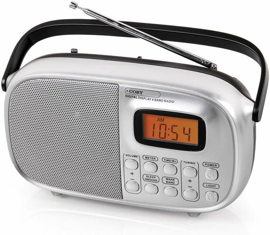 New Coby Portable AM/FM Radio World Band SW1 SW2 Alarm LCD D