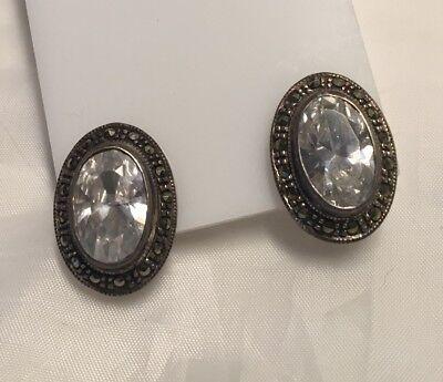 Vintage Marcasite Sterling Silver 925 Crystal Cabochon Pierced Earrings