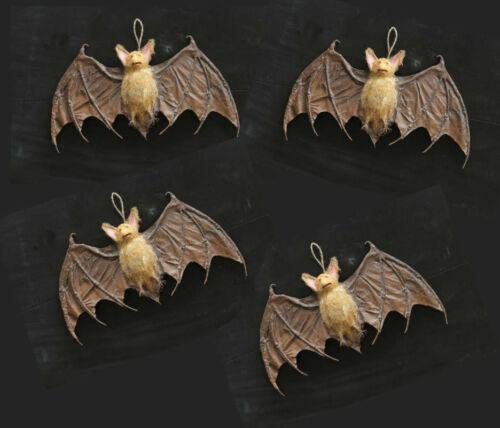 "Vampire Bats Set of 4 - 15"" long - Halloween Decor New Creepy Bat Cave Fun"